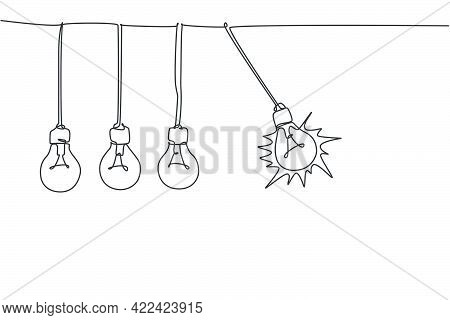 One Continuous Line Drawing Of Pendulum Light Bulb Swinging Ready To Break Other Bulb Logo Emblem. S