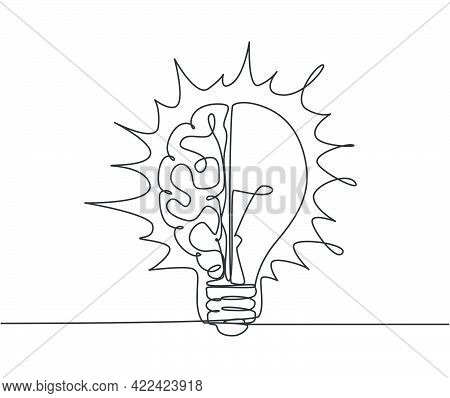 One Continuous Line Drawing Of Half Human Brain And Half Light Bulb Logo Emblem. Genius Psychologica