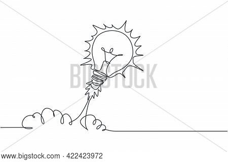 One Continuous Line Drawing Of Light Bulb Ready To Take Off To Space Logo Emblem. Smart Bright Launc