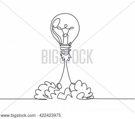 Single Continuous Line Drawing Of Smart Bright Light Bulb Take Off Flying To The Space Logo Label. R