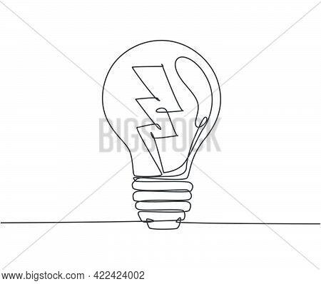 One Single Line Drawing Of Light Bulb With Thunder Bolt Logo Identity. Power Energy Electricity Logo