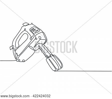 Single Continuous Line Drawing Of Electric Hand Mixer For Making Cookie Batter Household Utensil. El