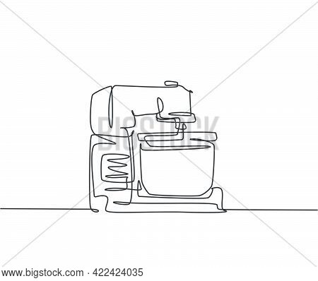 One Single Line Drawing Of Electric Hand Mixer For Mixing Cookie Batter Home Appliance. Electricity