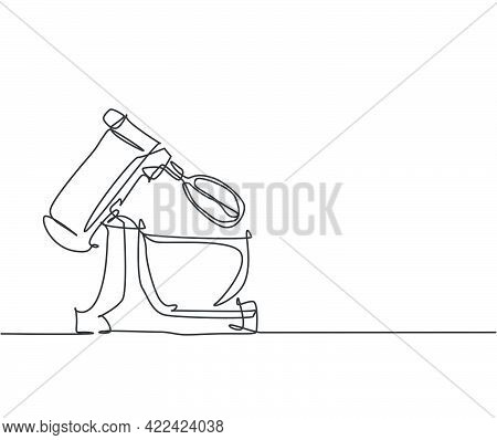 One Continuous Line Drawing Of Electric Stand Mixer Home Appliance For Making Bakery Batter. Electri