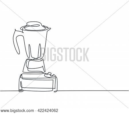 One Single Line Drawing Of Electric Blender Home Appliance For Making Fruit Juice Smoothie. Electric