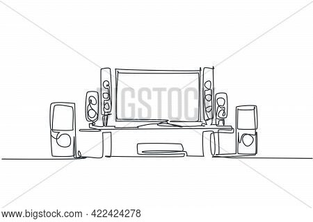 One Continuous Line Drawing Of Luxury Home Theater Home Entertainment. Electricity Living Room Furni