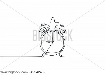 Single Continuous Line Drawing Of Retro Classic Metal Alarm Clock With Ring Bell. Loud Ringing Alarm