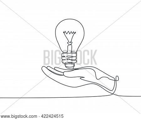 One Single Line Drawing Of Open Palm Hand Holding Bright Lightbulb For Invention Company Logo Identi