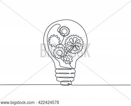 One Single Line Drawing Of Lightbulb With Metal Gear Wheel Inside For Machine Company Logo Identity.