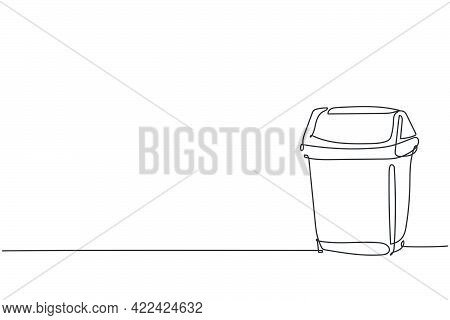 One Single Line Drawing Of Plastic Recycle Bin Home Appliance. Dustbin Household Kitchenware Tools C