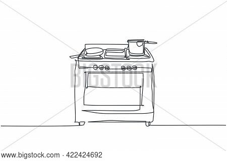 One Single Line Drawing Of Gas Stove With Oven Home Appliance. Electricity Household Kitchenware Too