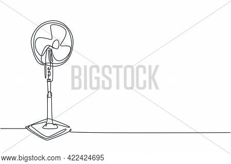 One Continuous Line Drawing Of Electric Standing Blow Fan Home Appliance. Electricity Living Room Ho