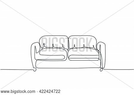 One Continuous Line Drawing Of Luxury Leather Sofa Home Appliance. Comfy Couch For Living Room Furni