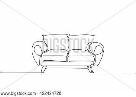 One Single Line Drawing Of Expensive Luxury Sofa Home Appliance. Elegance Comfortable Couch For Livi
