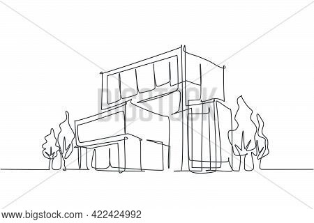 Continuous One Line Drawing Of Luxury House Construction Building At City. Home Property Architectur