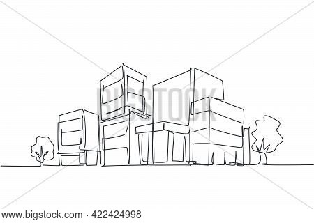 Continuous One Line Drawing Of Luxury Apartment House In Urban Area. Home Architecture Property Cons