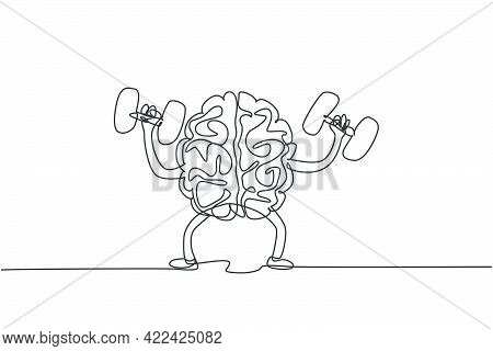 One Continuous Line Drawing Of Healthy Strong Human Brain Raised Dumbbell For Fitness Center Logo Ic