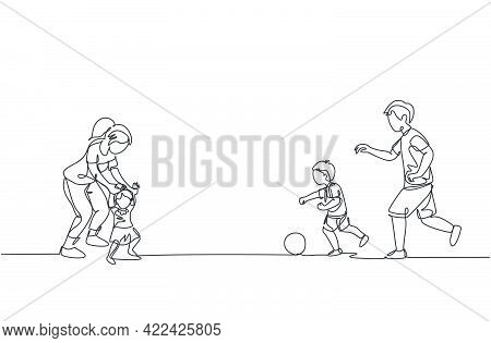One Continuous Line Drawing Of Young Father Playing Soccer With Son While Mother Teaching Daughter T