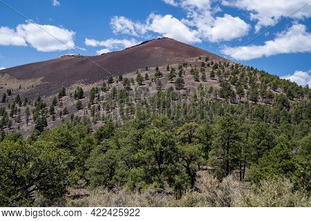 The Sunset Crater Cinder Cone Volcano In Sunset Crater National Monument Near Flagstaff Arizona