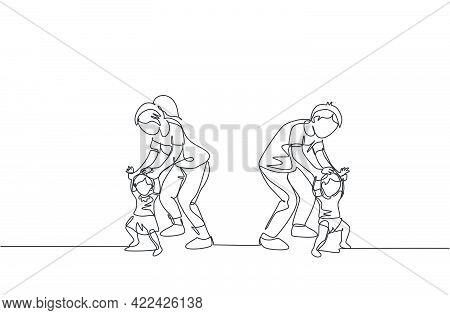 One Single Line Drawing Of Young Parents Teaching Their Twin Kids To Walk At Home Vector Illustratio
