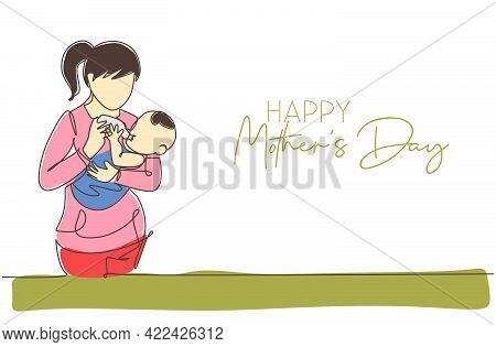 Single Continuous Line Drawing Of Young Mother Feeding Her Baby Full Of Warmth. Happy Mother's Day C