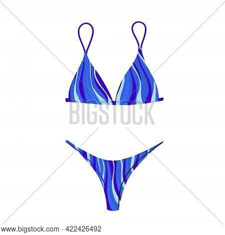 Two-piece Swimsuit With An Abstract Print. Modern Fashion Stylish Bikini Swimsuit. Vector Illustrati