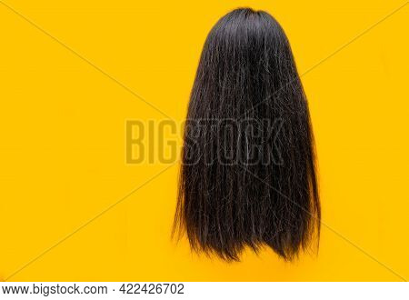Damaged Hair Isolated On Yellow Background. Dry And Brittle Hair Problem. Black Long Hair With Dry T