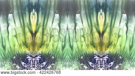 Bright Symmetric Background. Blue, Green, White And Yellow Paint. Abstract Watercolor Painting.