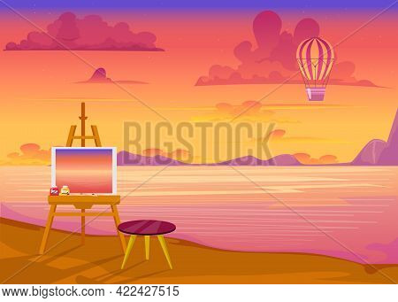 Pink Sunset Over Ocean Flat Vector Illustration. Drawing Easel With Landscape Painting Standing On B