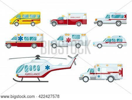 Ambulance Vehicles Vector Illustration Set. Medical Cars On White Background. Paramedical First Aid.
