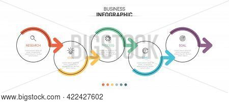 Infographic Design With Icons And 5 Options Or Steps. Thin Line Vector. Infographics Business Concep
