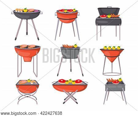 Barbecue Grills Cartoon Illustration Set. Vector Collection Of Charcoal Grills With Roasted Meat, Gr
