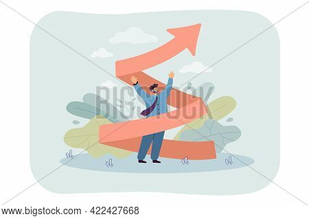 Tiny Man With Arrow Twisted Upward. Career Increase, Inspired Business Worker Flat Vector Illustrati