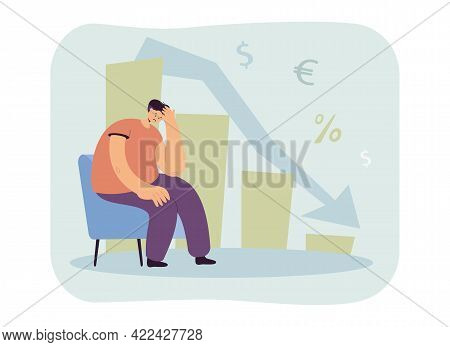Upset Man Thinking About Money Loss. Sad Male Character Sitting On Chair, Falling Graph Flat Vector