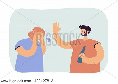 Drunk Man Abusing Woman. Bearded Male Character With Bottle Screaming At Crying Wife Or Girlfriend.