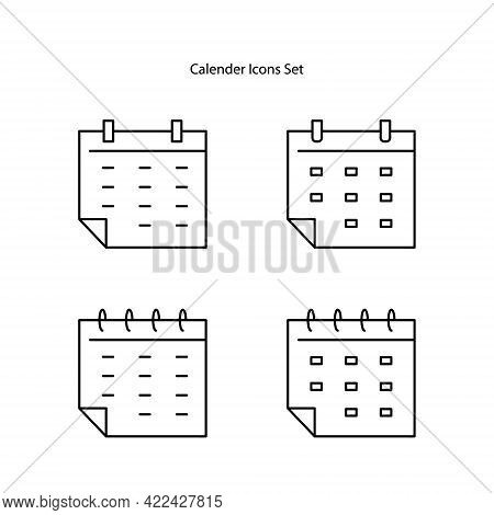 Calendar Icons Set Isolated On White Background, Calendar Icon Vector Flat Modern, Calendar Icon,