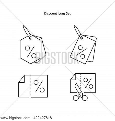 Discount Icons Set Isolated On White Background. Discount Icon Trendy And Modern Discount Symbol For