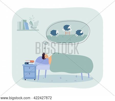 Man Trying To Sleep While Counting Sheep. Male Character In Bed, Speech Bubble With Furry Animals Fl