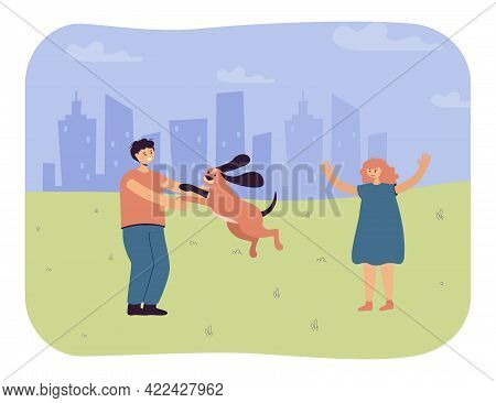 Children Playing With Dog Outside. Boy And Girl On Walk With Pet In Park, Silhouette Of City In Back