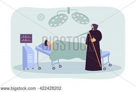 Death Character Coming For Dying Man In Hospital. Cartoon Patient Lying In Bed, Male Character In Bl