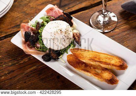 Italian Appetizer Plate With Burrata And Prosciutto