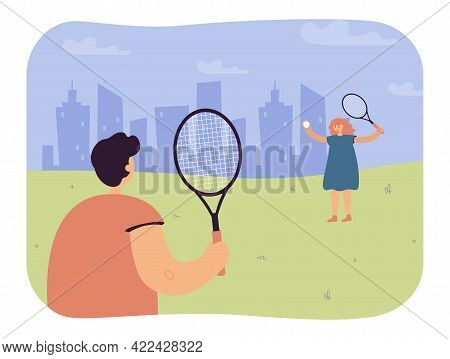 Children Playing Tennis Outside. Girl Holding Ball And Racket, Boy Waiting, Silhouette Of City In Ba