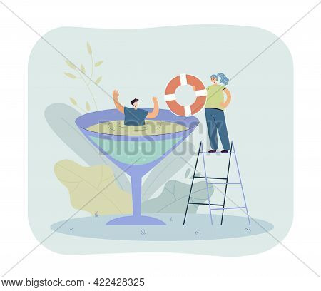 Man Drowning In Alcohol Cocktail. Male Character Trying To Swim From Wine Glass, Female Helping Him,