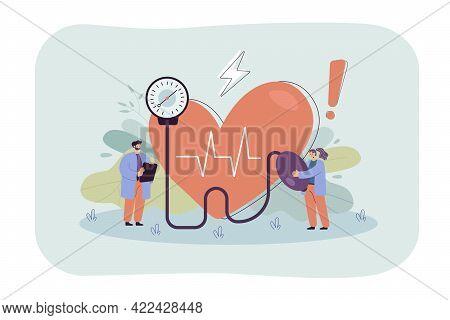 Tiny Doctors Checking Blood Pressure At Hospital. Medical Checkup, High Risk Of Heart Disease Flat V