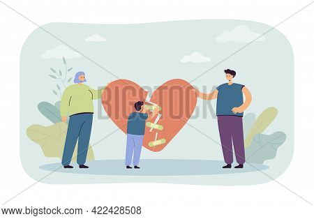 Divorced Family Getting Back Together. Man And Woman Holding Pieces Of Broken Heart, Little Boy Tryi