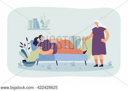 Mother Sad With Drunk Daughter. Young Female Character Lying On Sofa With Bottle, Older Woman Scream