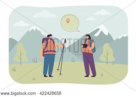 Couple Plotting Route For Hiking. Couple Of Hikers With Tablet Thinking About Trek To Top Of Mountai