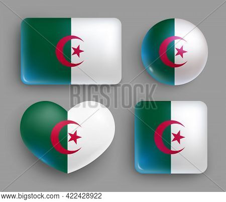 Set Of Glossy Buttons With Algeria Country Flag. Northern Africa Country National Flag, Shiny Geomet