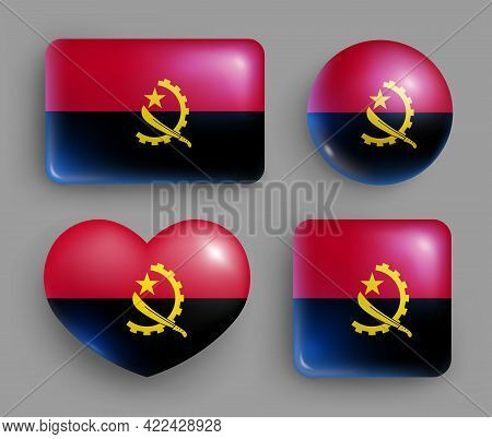 Set Of Glossy Buttons With Angola Country Flag. Southern Africa Country National Flag, Shiny Geometr