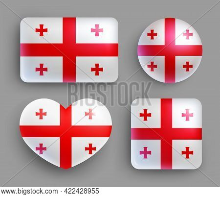 Set Of Glossy Buttons With Georgia Country Flag. Western Asia Country National Flag, Shiny Geometric